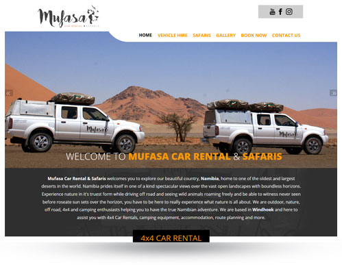 Mufasa Car Rental website
