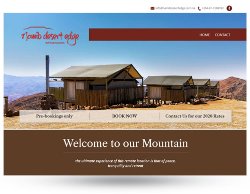 Namib Desert Edge Accommodation website