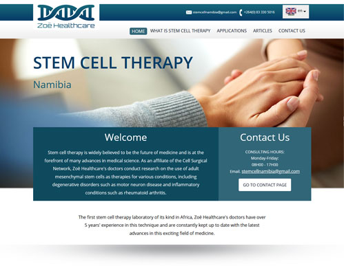 Stem Cell Namibia responsive website