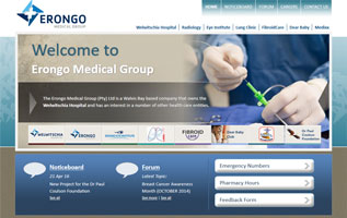 Erongo Medical Group website and back-end system